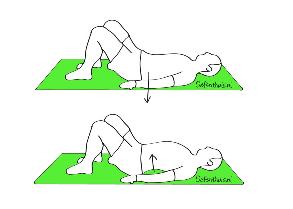 Onderrug hol en bol maken in ruglig bij lage rugklachten