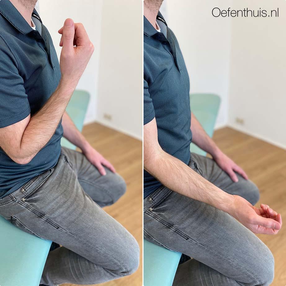 buigen en strekken elleboog na schouderluxatie oefeningen