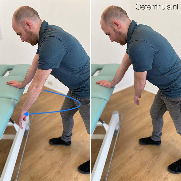 schouderluxatie arm rondjes draaien oefening