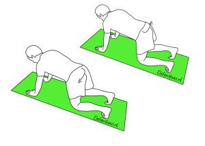 zijwaarts mobiliseren onderrug in kruipstand bij rugklachten onderrug
